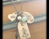 Ever After Custom Hand Stamped Anniversary Necklace with Arrow Charm Peruvian Blue Quartz Freshwater Pearl and Infinity Chain by MyBella
