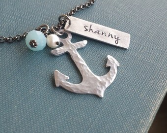 The Legacy of a Sailor Custom Hand Stamped Necklace and Hammerd Anchor with Peruvian Blue Quartz and FW Pearl by MyBella