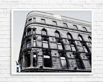Old Montreal Photography, Architecture,Texture, Wall Decor, Black White Decor, Metallic Look, Landscape Photography   - Windows 1