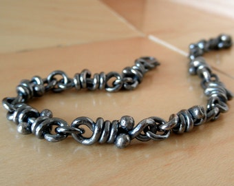 Ra Sterling Silver Bracelet . Sturdy Linked Knots. Rustic Oxidized Links. For Men and Women. Handmade Aroluna Chain