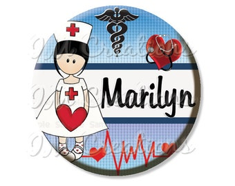 "Pocket Mirror, Magnet or Pinback Button - Party Favors 2.25"" -  Personalized Name For Nurses MR434"