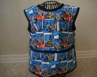 Batman Art Smock or Apron with Black Bias Trim. Size 3t-4t