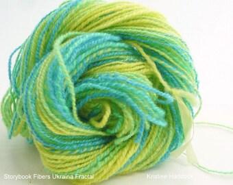 Fractal Hand Spun Yarn, Fractal Hand Spun Wool Yarn, DK Weight Hand Spun Yarn, Storybook Ukraina Two Ply Fractal Hand Spun 66 yards .8 ozs