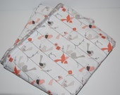 baby blanket, quilted baby blanket- birds and woodgrain- ready to ship