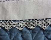 1950's Estate White Cotton Table Runner Crochet or Tatted Trim