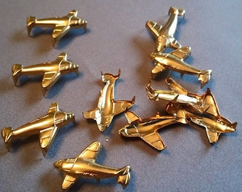 Vintage Brass Colored Airplane studs