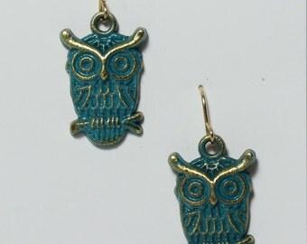 Enameled brass owls