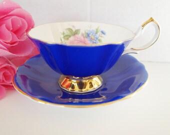 Queen Anne Cobalt Teacup, 1950s Queen Anne Teacup, Royal Blue Teacup, Blue Queen Anne Teacup, no 27