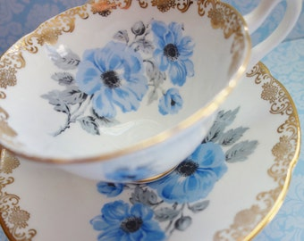 Collingwood Blue Teacup, Blue Filigree Teacup, 1950s Blue Collingwood Teacup NO 7a