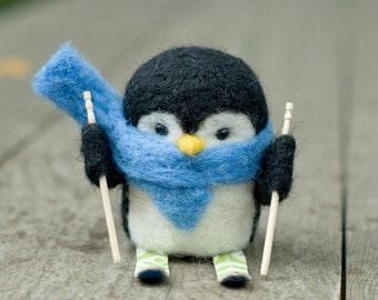 Needle Felted Penguin - Skiing