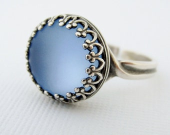 Blue Moon Ring, Silver Blue Stone Ring, Adjustable Rings, Round Blue Glowing Moon Ring, Frosted Blue Glass Stone Ring, Glass Moon Ring