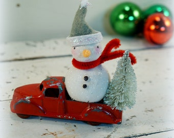 Snowman // Christmas Ornament // Vintage Style Christmas // Vintage Toy Truck // Bottle Brush Tree // Antique Christmas // Red