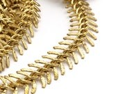 2 M. Raw Brass Fish Bone Chain , (11mm ) Bs 1055