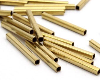 Geometric Brass Tube Bead, 50 Huge Raw Brass Square Tubes (2x20mm) Bs 1566