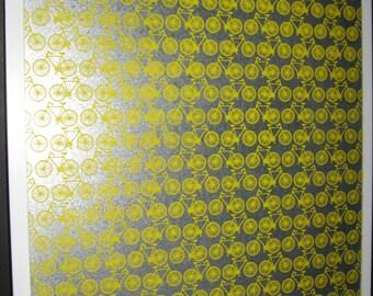 Yellow Bicycle .. Magnetic Dry Erase Steel Memo Board  / Office Decor / Desk / Message Board / Housewarming Gift / Wall Decor / Organization