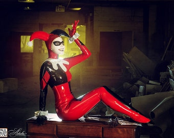 Adala Clothing Latex Harley Quinn Cosplay Made To Order