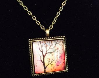 """Art Print Glass Pendant Vintage Bronze Necklace """"Enchanted Aura"""""""