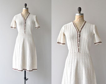 Radka knit dress   vintage 1930s crochet dress   30s knit dress
