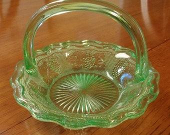 Candy Dish Basket Bowl Vintage Green Glass Serving Relish Home Decor Grape and Leaf Design