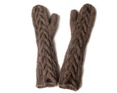 Bella Twilight Chocolate Brown Mittens, Elbow Length, Long Cuff, Horseshoe Cables, Pure Chunky Wool, Ready to Ship