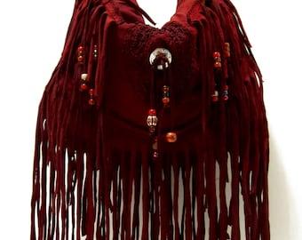 Deep Burgundy Fringe Shoulder Bag