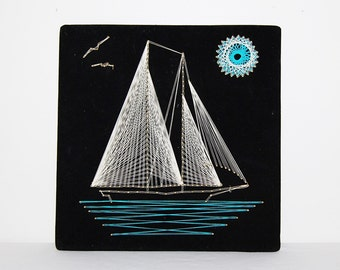 Vintage Sailboat String Art with Aqua