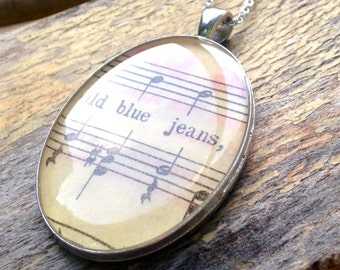 Old Blue Jeans Music Necklace