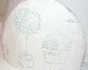 Duck Egg on White Linen Topiary Tea Cosy / Tea Pot Cozy - Garden Theme Tea Cosy - Topiary Plants - Striped Lining