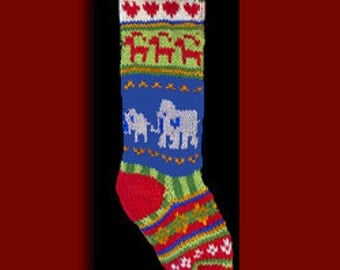 Hand knit Christmas stocking,  Personalized, made of pure wool yarn,  fully lined -- Elephant,  reindeer and heart.