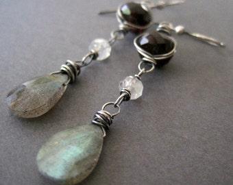 Wire Wrapped Gemstone Earrings, Blue Flash Labradorite, Red Garnet, Moonstone Jewelry, Free Shipping