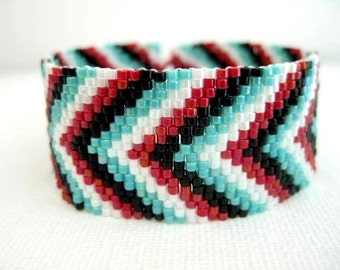 Peyote Pattern - Chevron - INSTANT DOWNLOAD PDF - Peyote Stitch Bracelet Pattern - Chevron Bracelet - Peyote Chevron Pattern / Three Drop
