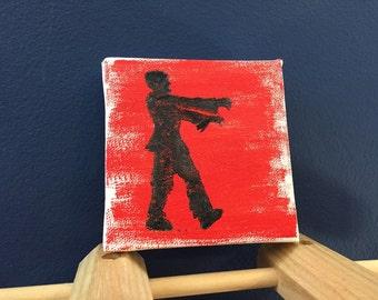 Zombie Print on Mini Canvas