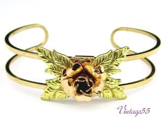 Rose Bracelet 2 tone Gold filled 1940 Retro