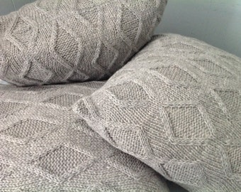 Geometric Pillow Sham, Geometric Sweater Pillow, Cable Knit Pillow Sham