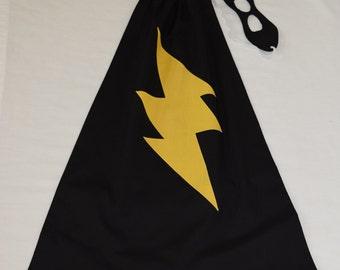SUPER hero CAPE/Mask Set - Black w/ Yellow lightning bolt