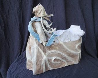 Celtic Lady Papier-mache sculpture & washcloth holder