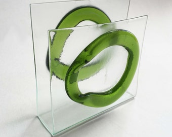 Glass clear and green Napkin or Mail Holder - IN STOCK