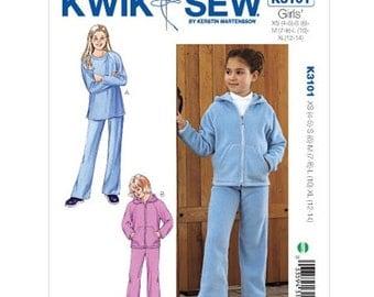 GIRLS CLOTHES PATTERN / Make Jacket - Pants - Shirt / Jogging Suit - Sweatsuit / Size 4 to 14 / School Clothes