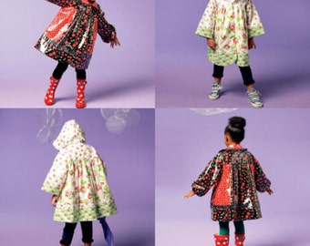 GIRLS COAT PATTERN / Sale! / Make Coat With Hood or Collar / Child Size 3 - 5 Or Girl Size 6 - 8