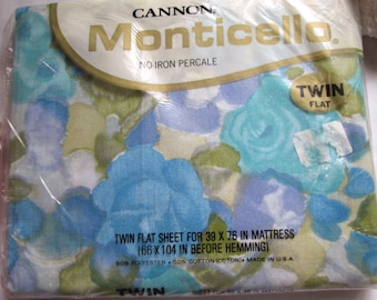 Vintage NOS Cannon Monticello Twin Flat Sheet Watercolor Print Blues Greens 1960's