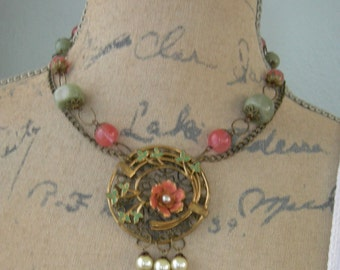 Repurposed Assemblage Necklace  - Salmon Cherry Quartz And Green Aventurine - Signed Krementz