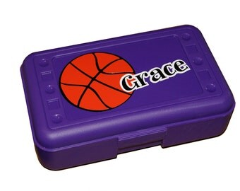 BACK TO SCHOOL - Personalized Pencil Box / Art Supply - Basketball