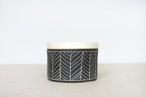 Porcelain Herringbone Salt Cellar in Matte Black - Made to Order