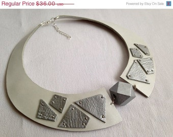 "50% OFF SALE White and silver leather bib necklace Leather jewelry Statement necklace  ""Geometry of Metamorphose"" collection"