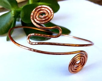 Upper arm cuff - hammered copper cuff - copper bracelet - bohemian jewelry - copper armlet - boho cuff - gypsy jewelry - spiral arm bracelet