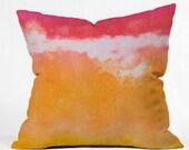 Tangerine Tie Dye Indoor Throw Pillow