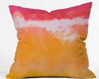Tangerine Tie Dye Indoor Throw Pillow