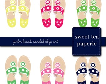 Buy2Get1Free with Code XMASINJULY! Palm Beach Sandal Clip Art (Instant Download)