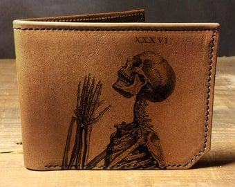 wallet, leather wallet, mens leather wallet, praying skeleton wallet