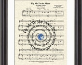 Fly Me To The Moon Song Lyric Sheet Music Art Print, Custom Wedding, Custom Anniversary, First Dance, Names and Date